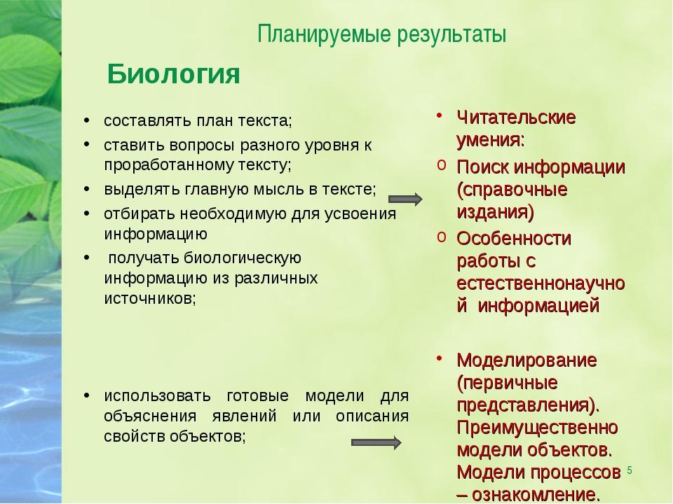 * Планируемые результаты Биология составлять план текста; ставить вопросы раз...