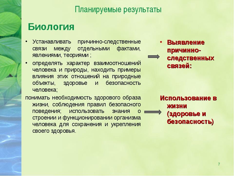 * Планируемые результаты Биология Устанавливать причинно-следственные связи м...