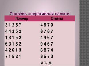 Уровень оперативной памяти. Пример Ответы 3 1 2 5 7 4 4 3 5 2 1 3 1 5 2 6 3 1