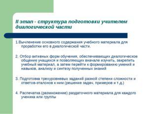 II этап - структура подготовки учителем диалогической части 1.Вычленение осно