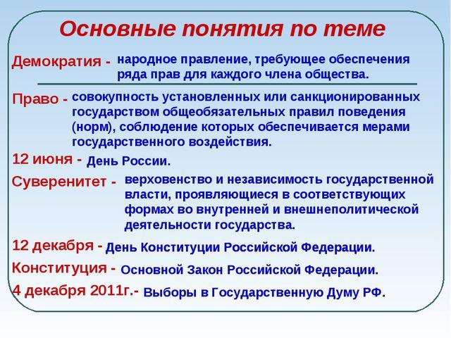 Основные понятия по теме Демократия - народное правление, требующее обеспече...