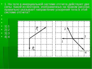 1. На тело в инерциальной системе отсчета действуют две силы. Какой из вектор