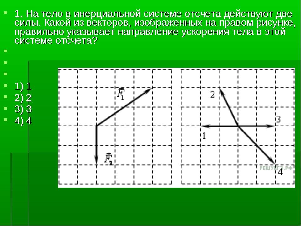 1. На тело в инерциальной системе отсчета действуют две силы. Какой из вектор...