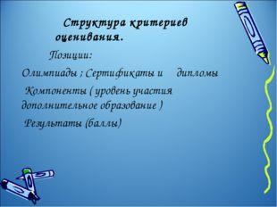 Структура критериев оценивания. Позиции: Олимпиады ; Сертификаты и дипломы К