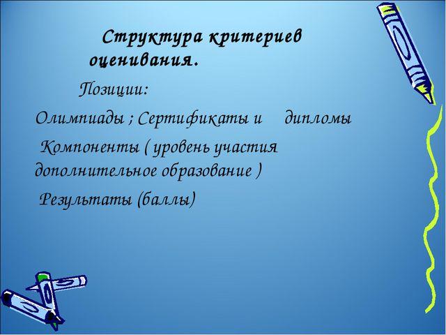 Структура критериев оценивания. Позиции: Олимпиады ; Сертификаты и дипломы К...