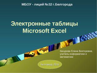 Электронные таблицы Microsoft Excel МБОУ - лицей №32 г.Белгорода Белгород, 20