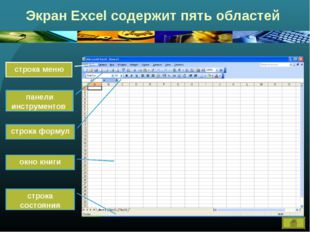 Экран Excel содержит пять областей строка меню панели инструментов строка фор