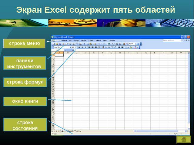 Экран Excel содержит пять областей строка меню панели инструментов строка фор...