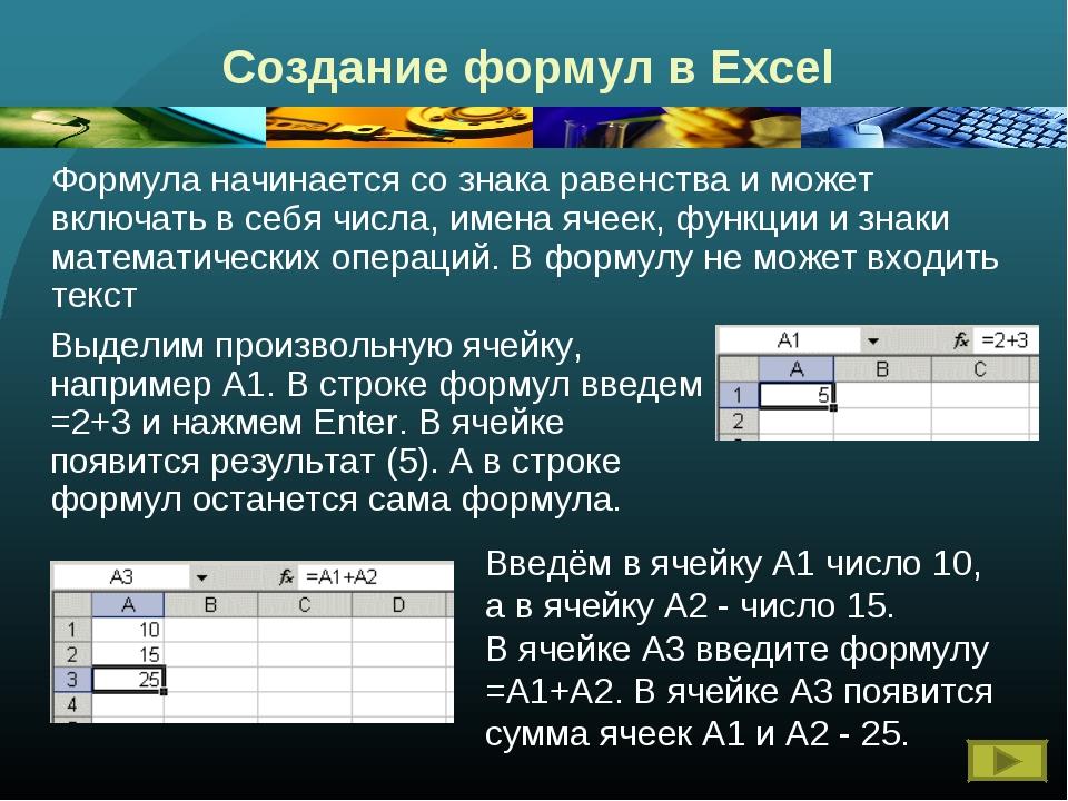 Создание формул в Excel Формула начинается со знака равенства и может включа...