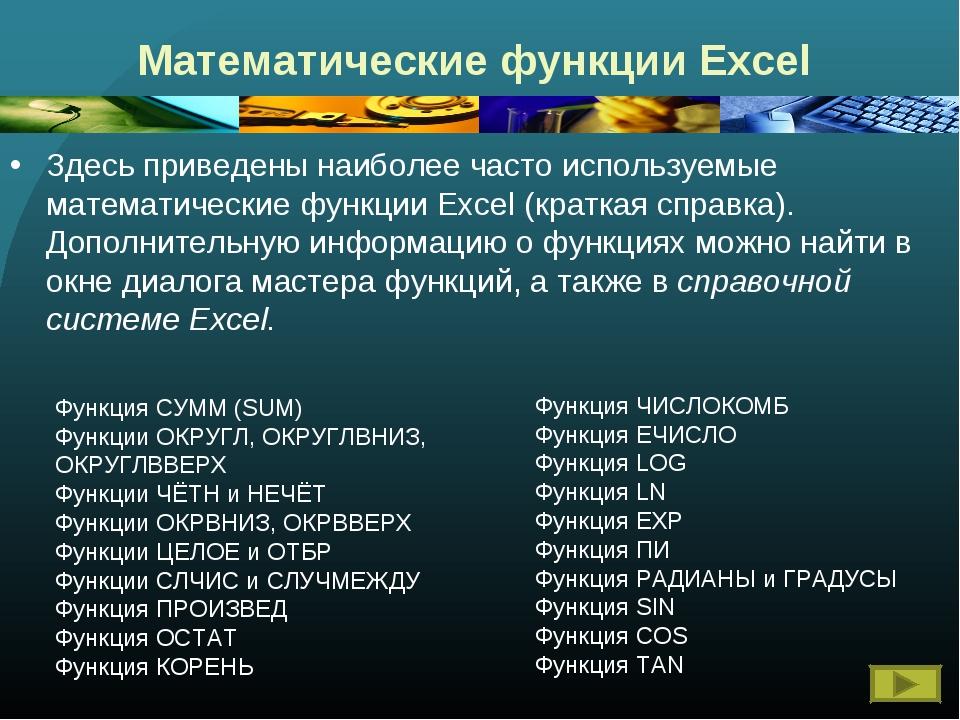 Математические функции Excel Здесь приведены наиболее часто используемые мате...