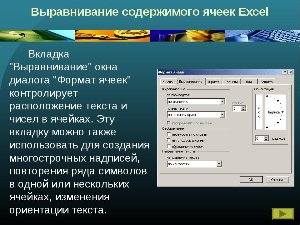 """Выравнивание содержимого ячеек Excel Вкладка """"Выравнивание"""" окна диалога """"Ф..."""
