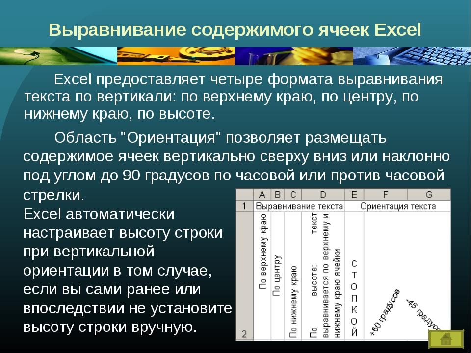 Выравнивание содержимого ячеек Excel Excel предоставляет четыре формата выр...