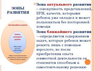 ЗОНЫ РАЗВИТИЯ Зона актуального развития – совокупность представлений, ЗУН, ка