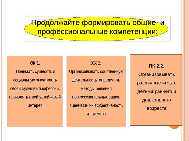 ОК 2. Организовывать собственную деятельность, определять методы решения проф...