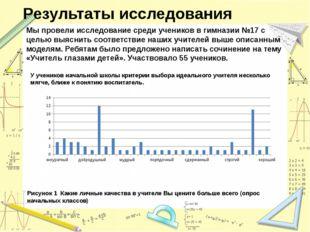 Результаты исследования Мы провели исследование среди учеников в гимназии №17