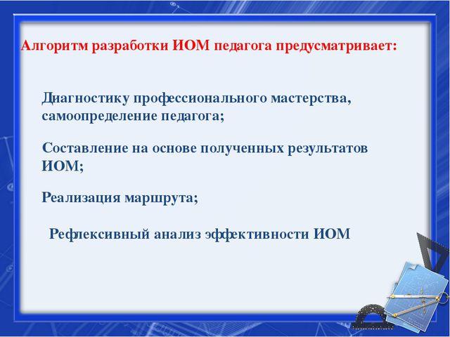 Алгоритм разработки ИОМ педагога предусматривает: Диагностику профессионально...