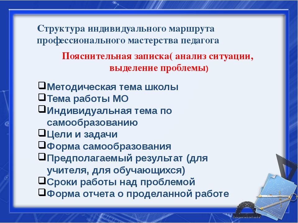 Структура индивидуального маршрута профессионального мастерства педагога Пояс...