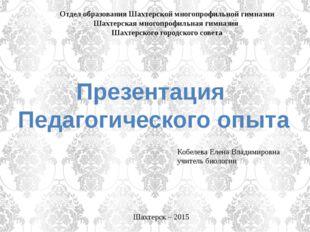 Отдел образования Шахтерской многопрофильной гимназии Шахтерская многопрофил