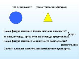 Что перед вами? Какая фигура занимает больше места на плоскости? (круг) Значи