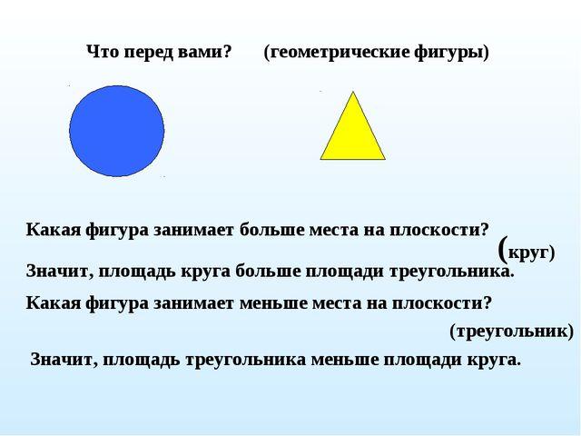 Что перед вами? Какая фигура занимает больше места на плоскости? (круг) Значи...