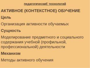 педагогическиЕ технологий АКТИВНОЕ (КОНТЕКСТНОЕ) ОБУЧЕНИЕ Цель Организация ак