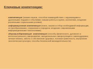 Ключевые компетенции: компетенция(знание языков, способов взаимодействия с о