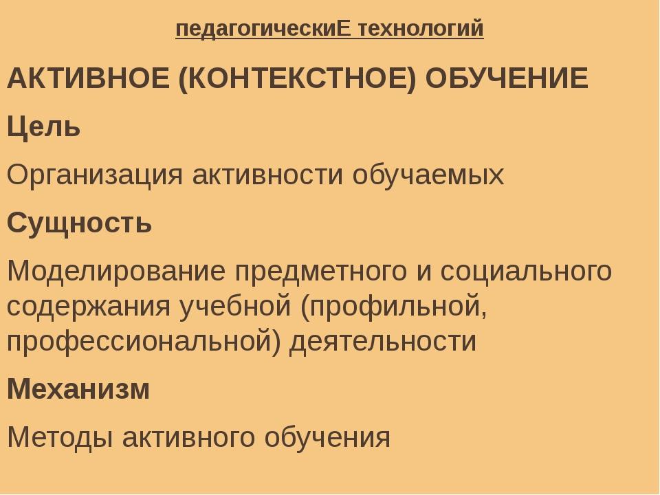 педагогическиЕ технологий АКТИВНОЕ (КОНТЕКСТНОЕ) ОБУЧЕНИЕ Цель Организация ак...