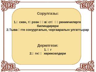 Ак-көк өөм : Сорулгазы: 1.Өскен, төрээн өөвүстү өөреникчилерге билиндирери 2.