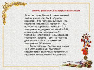 Итоги работы Соловецкой школы юнг. Всего за годы Великой отечественной войны