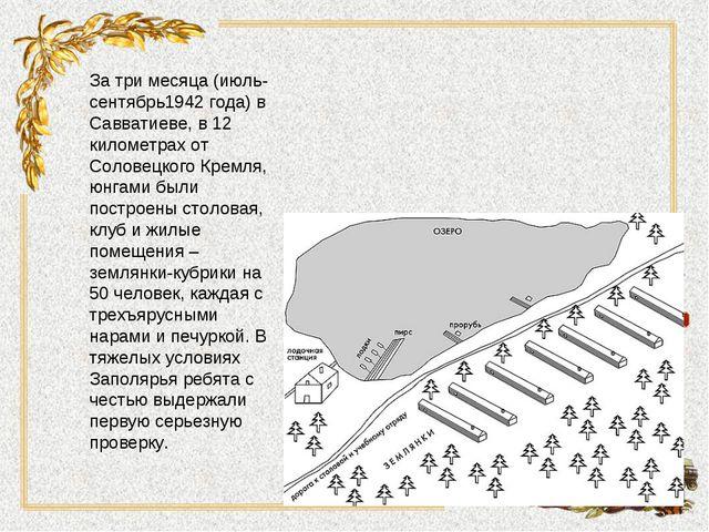 За три месяца (июль-сентябрь1942 года) в Савватиеве, в 12 километрах от Солов...