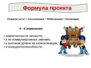 Развитие (есть) = Актуализация + Мобилизация + Реализация 4 - К изменения •