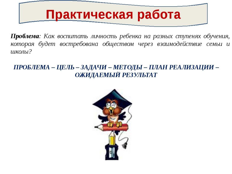 Проблема: Как воспитать личность ребенка на разных ступенях обучения, котора...