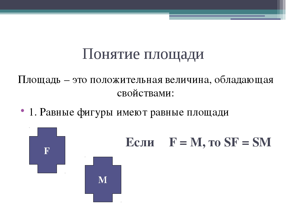 Понятие площади Площадь – это положительная величина, обладающая свойствами:...