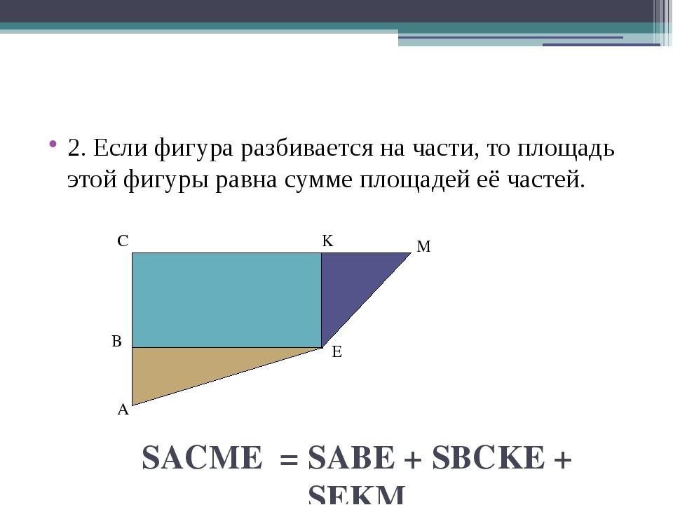 2. Если фигура разбивается на части, то площадь этой фигуры равна сумме площ...