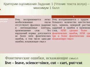 Критерии оценивания Задание 1 (Чтение текста вслух) – максимум 1 балл Фонетич