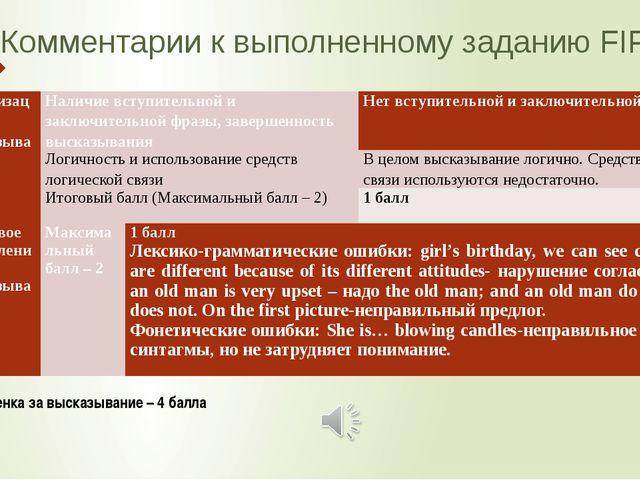 Комментарии к выполненному заданию FIPI 4.1.3 Общая оценка за высказывание –...