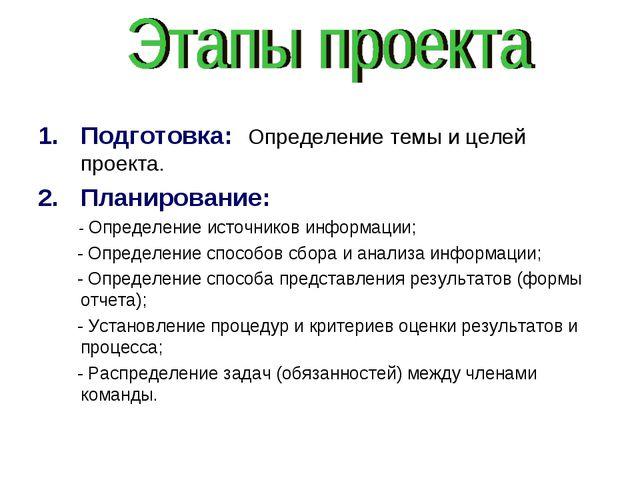 Подготовка: Определение темы и целей проекта. Планирование: - Определение ист...
