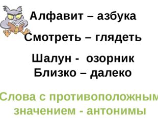 Алфавит – азбука Смотреть – глядеть Шалун - озорник Близко – далеко Слова с