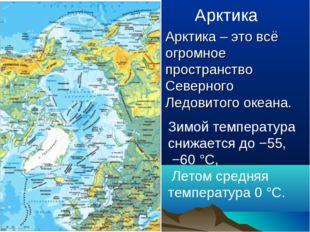 Арктика Арктика – это всё огромное пространство Северного Ледовитого океана.