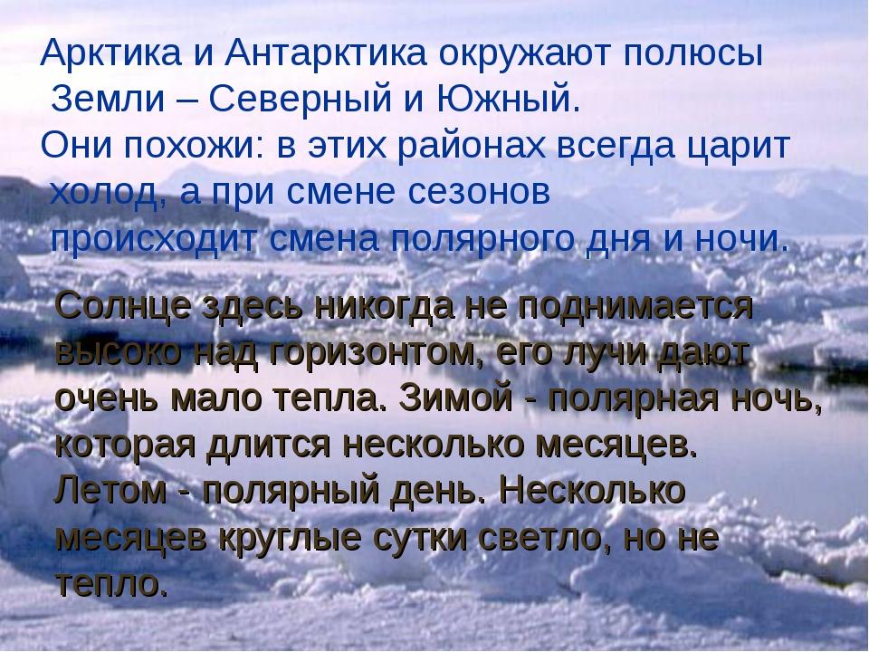 Арктика и Антарктика окружают полюсы Земли – Северный и Южный. Они похожи: в...