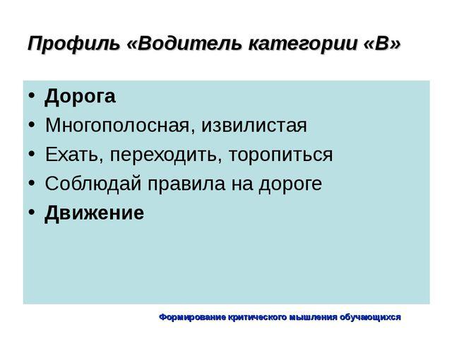Формирование критического мышления обучающихся Профиль «Водитель категории «В...