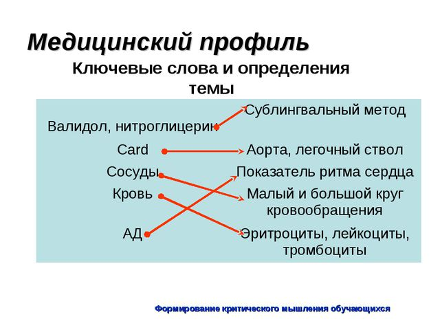 Формирование критического мышления обучающихся Медицинский профиль Ключевые с...