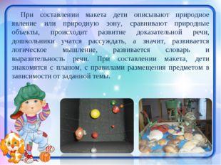 При составлении макета дети описывают природное явление или природную зону, с