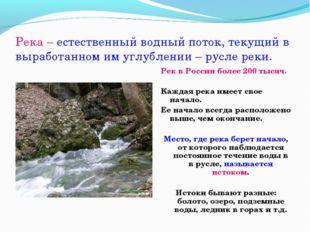 Река – естественный водный поток, текущий в выработанном им углублении – русл