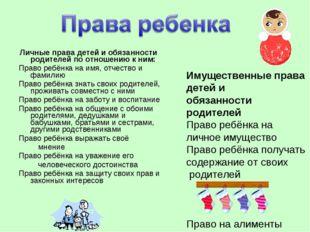 Личные права детей и обязанности родителей по отношению к ним: Право ребёнка