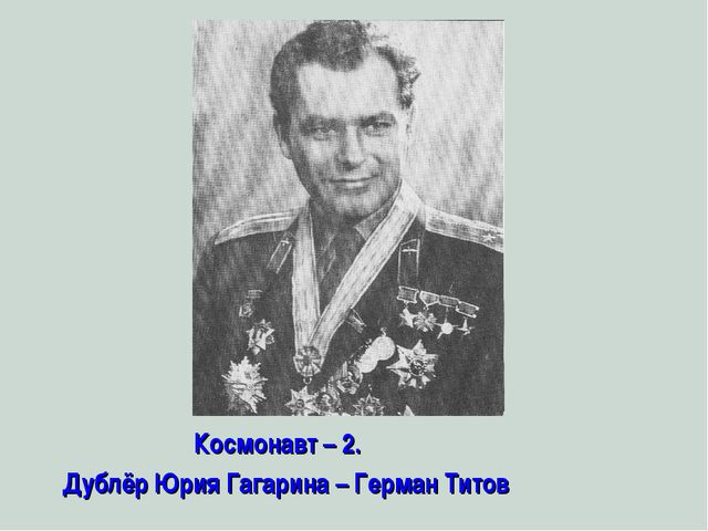 Космонавт – 2. Дублёр Юрия Гагарина – Герман Титов