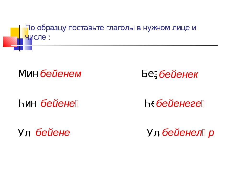 По образцу поставьте глаголы в нужном лице и числе : Мин бейенем Беҙ ... Һин...