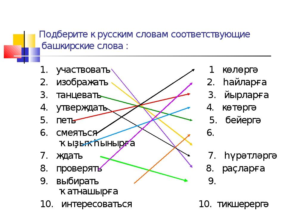 Подберите к русским словам соответствующие башкирские слова : 1. участвовать...