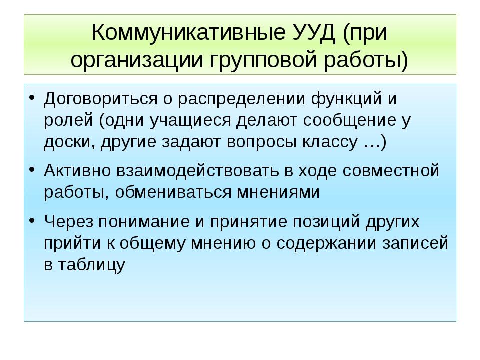 Коммуникативные УУД (при организации групповой работы) Договориться о распред...
