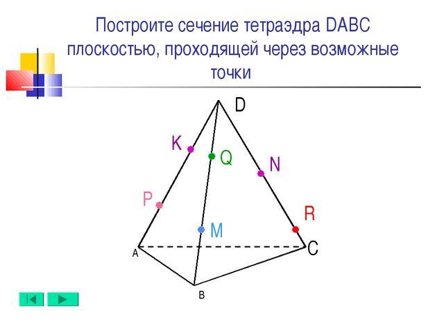 А B D C N M Q Построите сечение тетраэдра DABC плоскостью, проходящей через в...